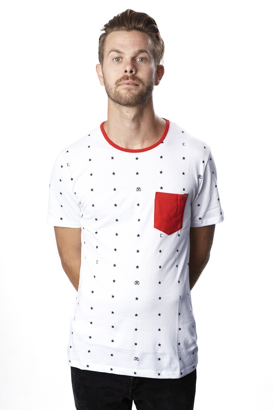 Just Stars Ringer (White) - Mens