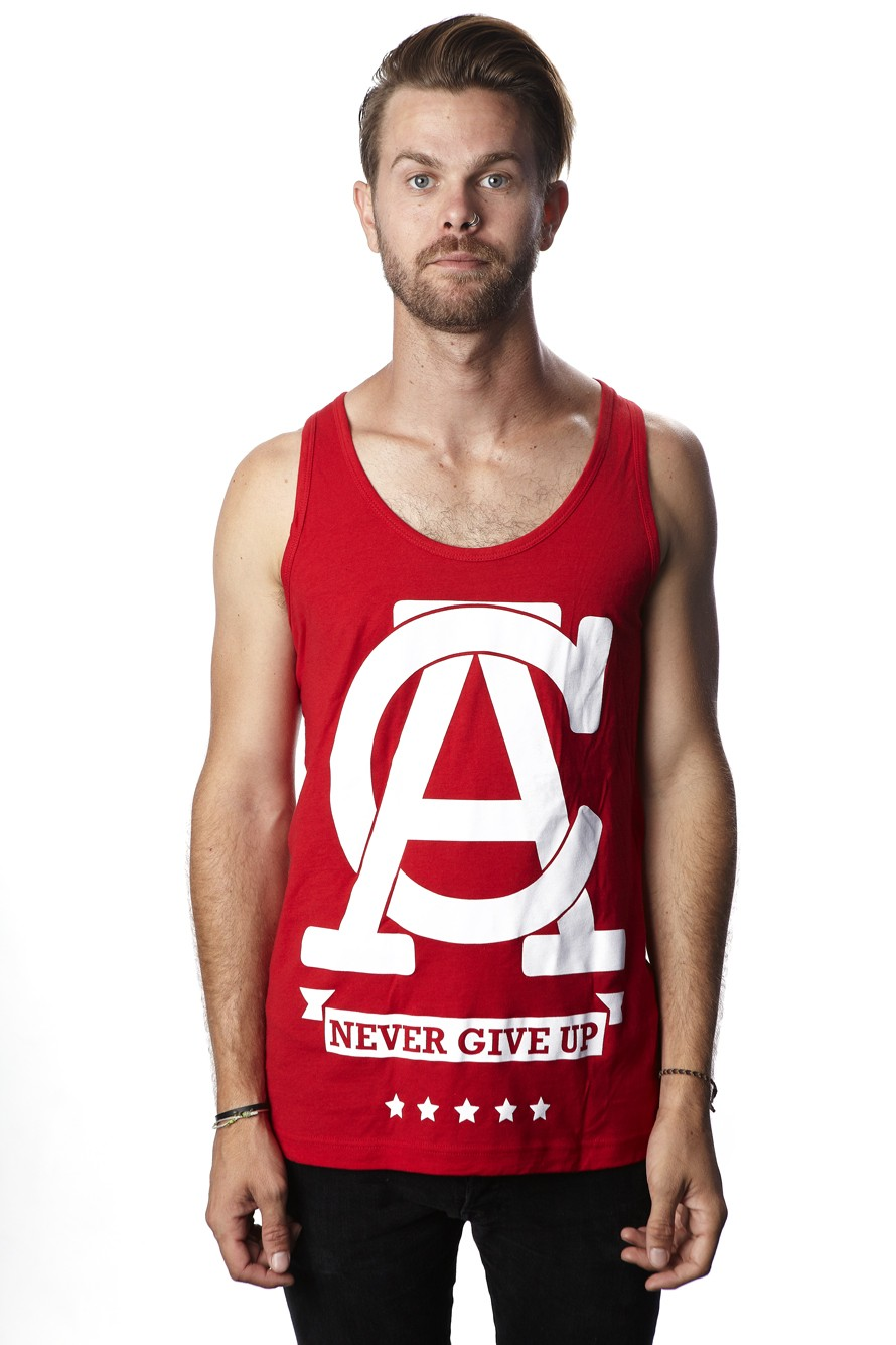 d2f2d1c51d406d Never Give Up - Mens Tank Top (Red) - Tank Tops - Men - Paper Alligator