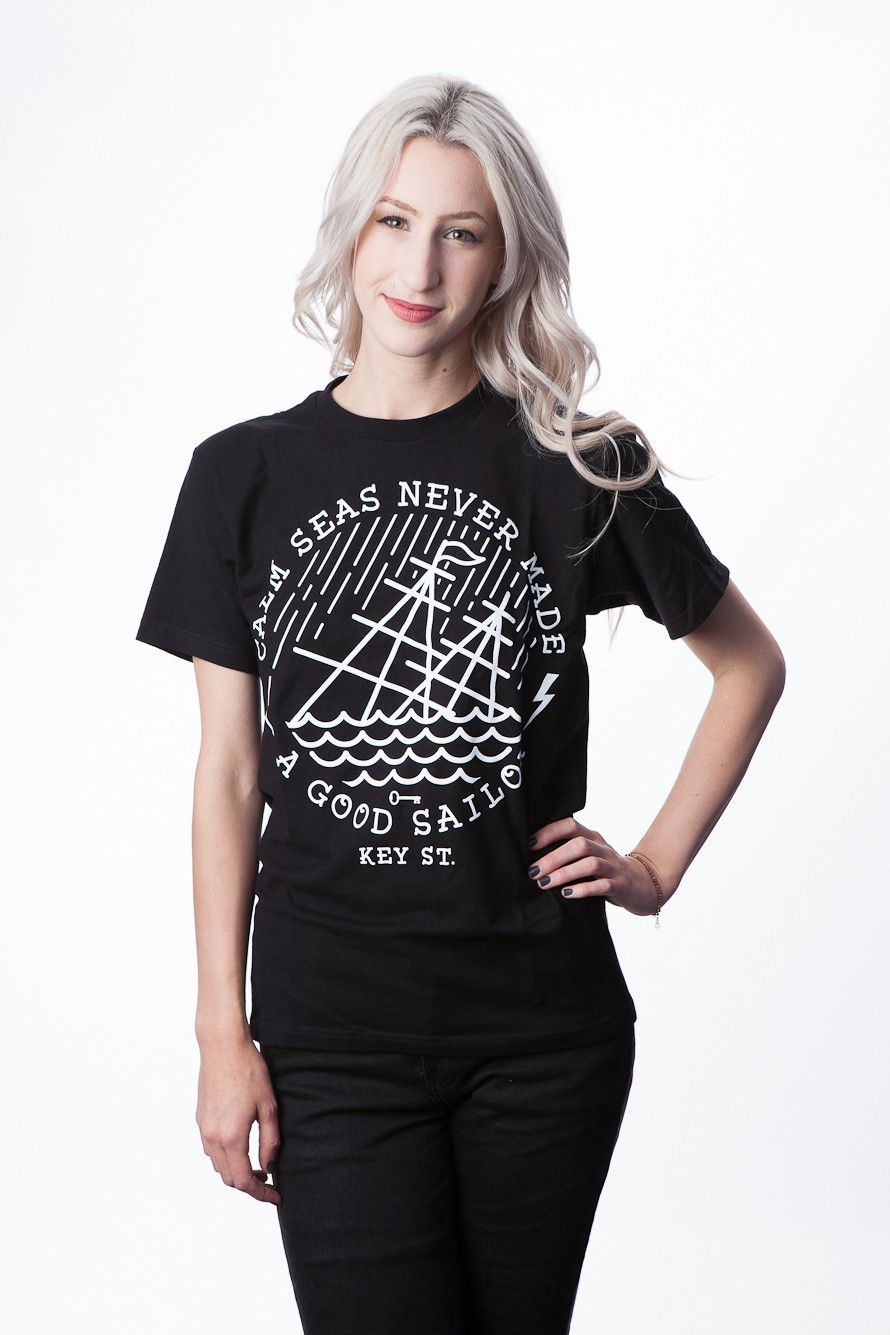 Calm Seas T Shirts  (Black)- Womens