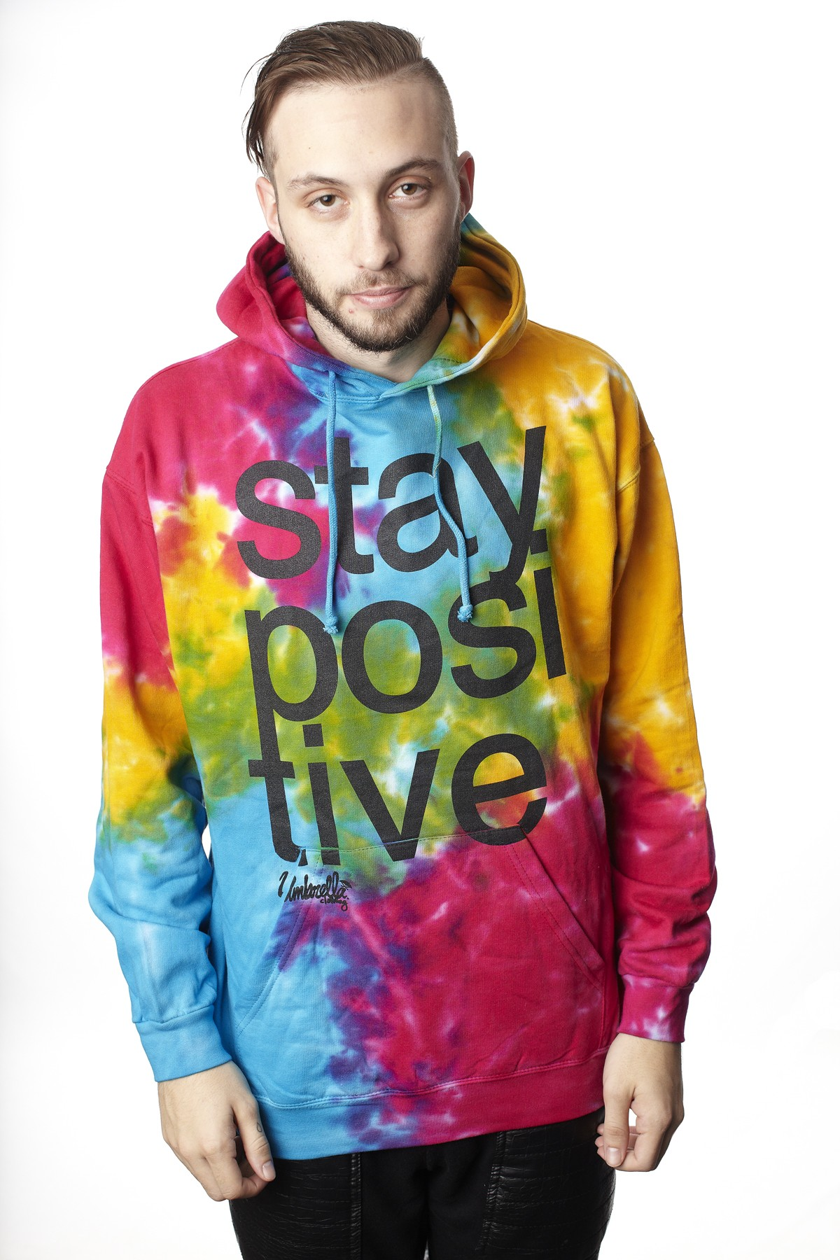 Stay Positive  Tie Dye  Pullover Hood - Mens