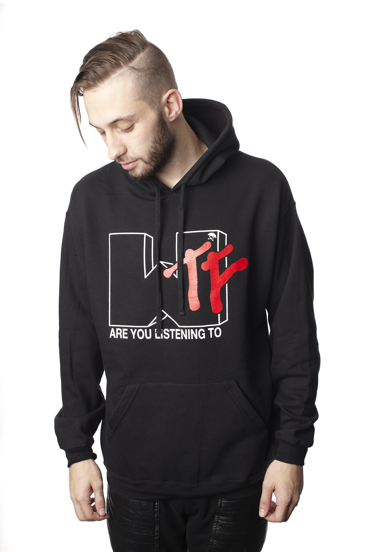 WTF Are You listening To -Pullover Hood - Mens