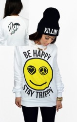 Be Happy Stay Trippy Crewneck - Womens
