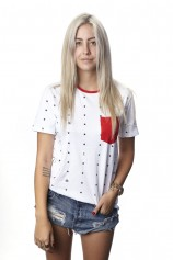 Just Stars Ringer (White) - Womens
