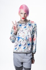 Floral Dream Jersey Crewneck (Blue) - Womens